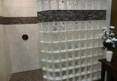 Fresh Glass Block Doorless Shower Designs