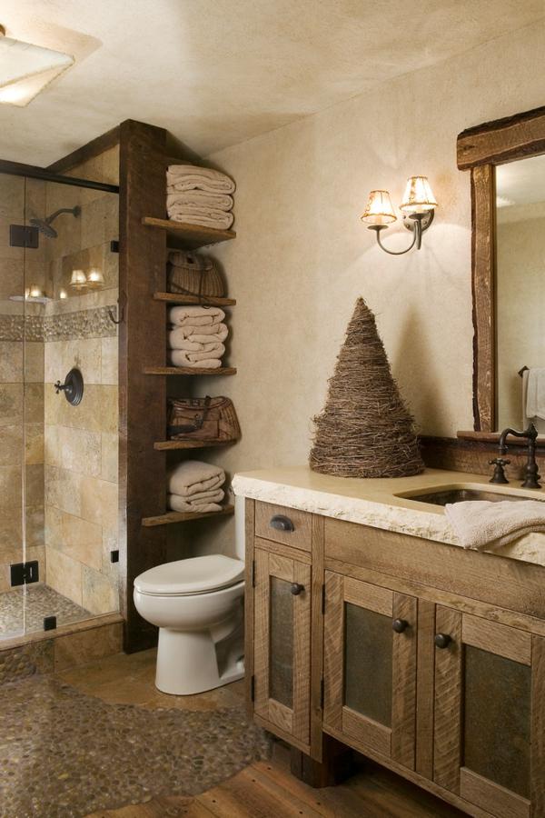 bad aus holz gestalten ideen f r rustikale badeinrichtung ... - Wohnideen Holz Naturstein