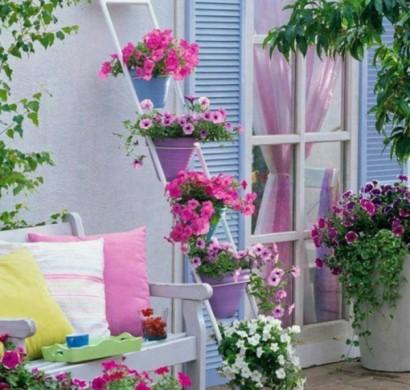 Frhlingsdeko basteln  den kleinen Balkon frisch gestalten