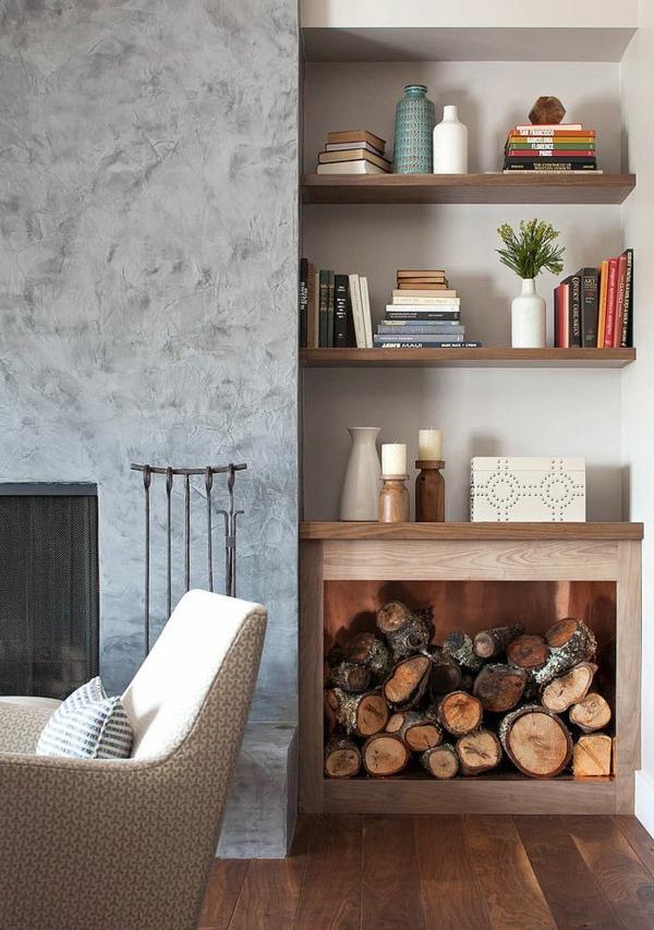 Brennholzlagerung zu Hause  stilvolle und originelle Lsungen fr Sie