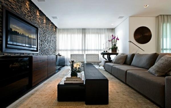 wandgestaltung wohnzimmer steine - boisholz - Wohnzimmer Ideen Wandgestaltung Regal