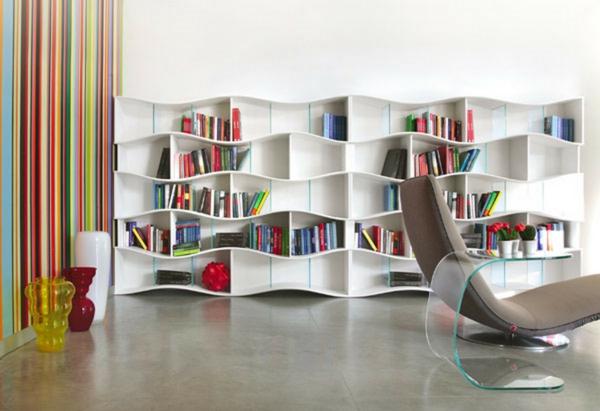 Bcherregal Wand Designer Wandregale im Wohnzimmer