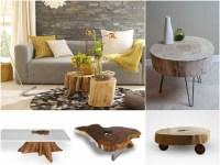 Baumstamm Tisch - der Eyecatcher im rustikalen Wohnzimmer