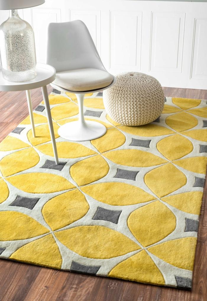 Gelber Teppich fr eine frische und strahlende Zimmergestaltung