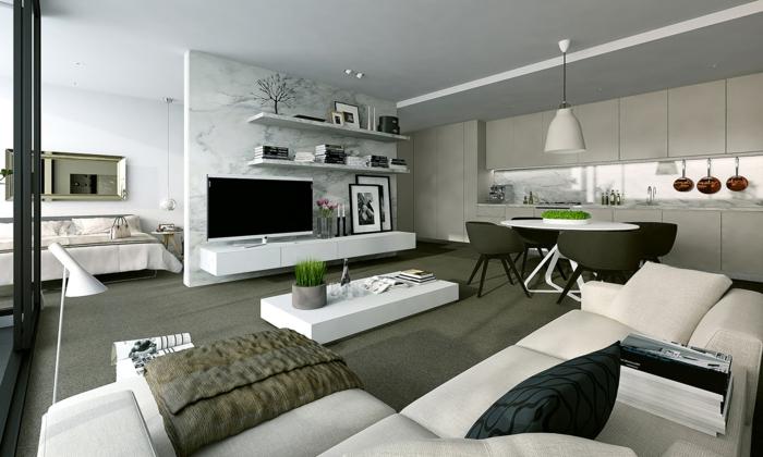 offene kchen einrichten - wohndesign - Kleine Wohnzimmer Mit Kuche