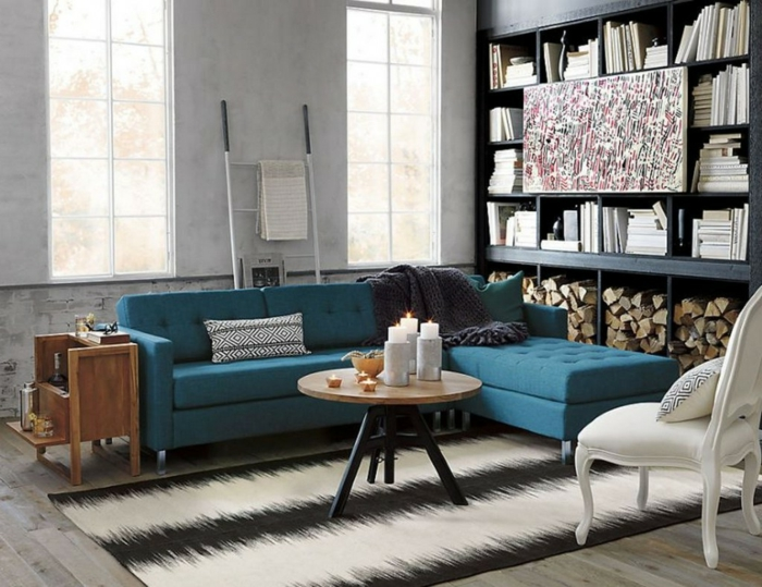Kleines Zimmer Einrichten Ideen Wohnzimmer Blaues Ecksofa