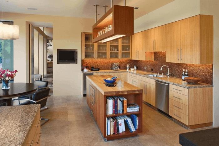 kuche mit kochinsel holz kuchen moderner landhausstil holz, Wohnzimmer design