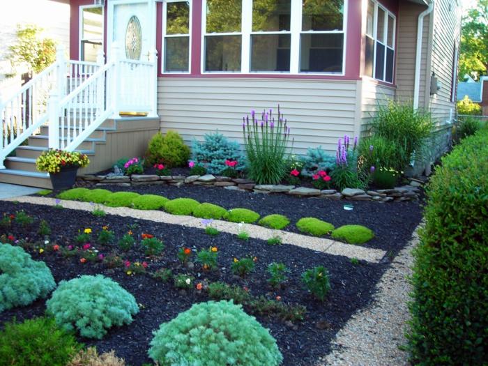 vorgarten pflanzen gartenweg kieselsteine blumen