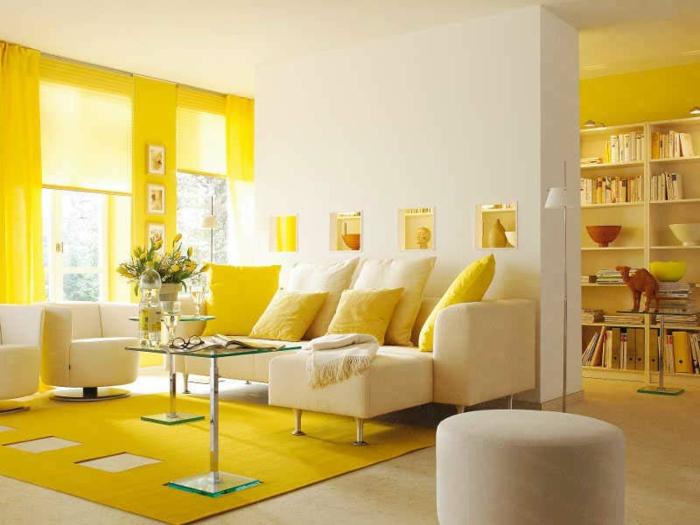 Ideen Wohnzimmer Streichen Akzent Gruen Gelb Weisses Sofa   Boisholz,  Modern Dekoo