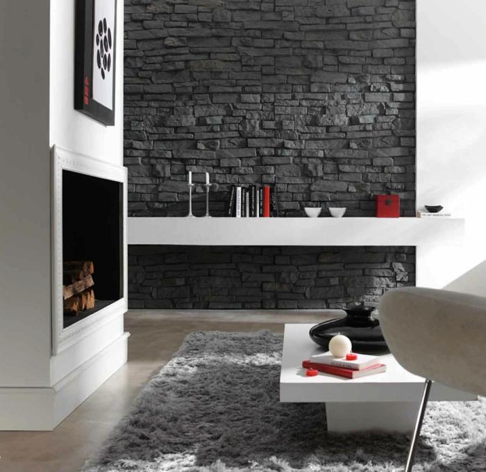 wohnzimmer design wand stein. Black Bedroom Furniture Sets. Home Design Ideas