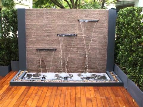 gartenbrunnen modernes design wasserfall im garten selber bauen -  ideen, wie sie die