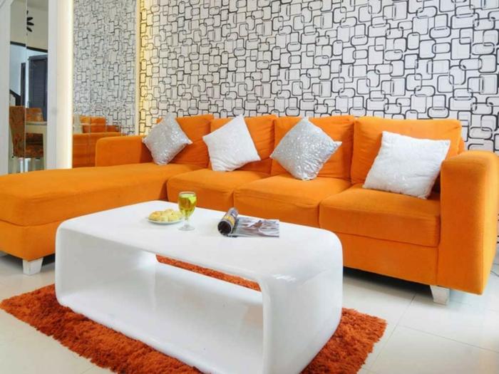 wohnzimmer grau orange. sofa grau wohnzimmer bunt gestalten ideen ... - Wohnzimmer Ideen Orange