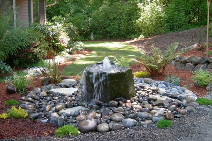 gartengestaltung ideen mit brunnen - boisholz, Garten und Bauten