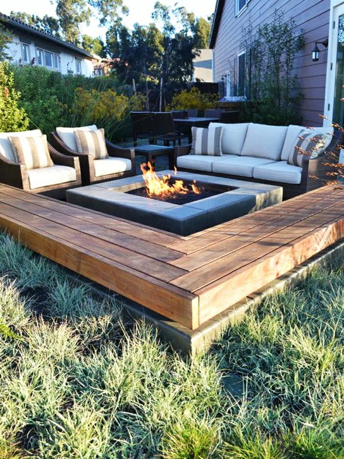 Gartengestaltung Ideen Feuerstelle Sessel Pflanzen