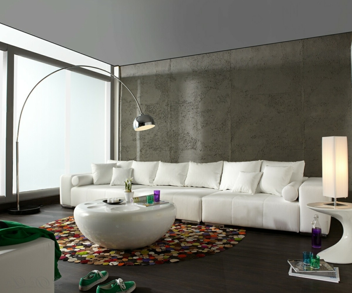 Wohnzimmer Modern Einrichten Runder Teppich Wei Er Couchtisch Moderne Beleuchtung