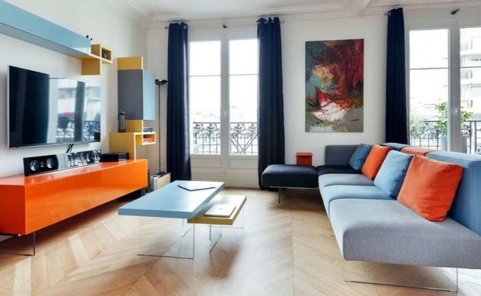 kleines wohnzimmer einrichten wandfarbe orange hochflor teppich ... - Wohnzimmer Ideen Orange