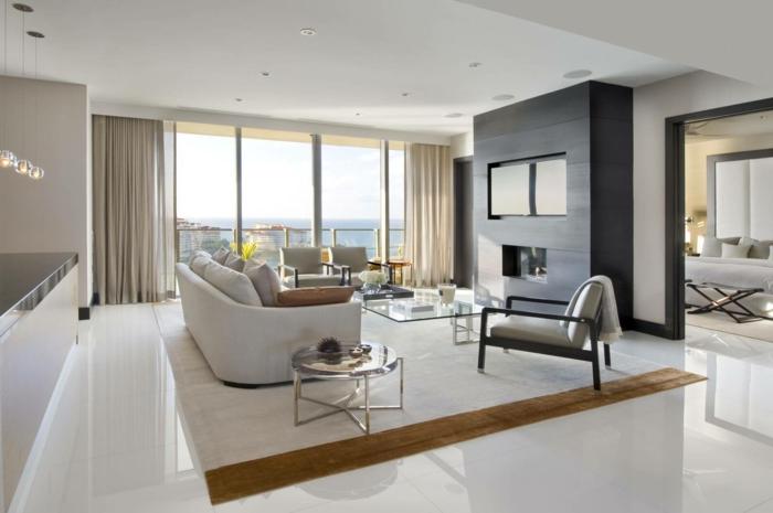 Wohnzimmer Fliesen  86 Beispiele warum Sie den Wohnzimmerboden mit Fliesen verlegen