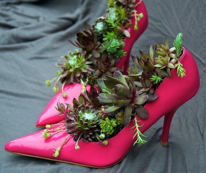 Deko Ideen Selbermachen Gartendeko Ideen Schuhe Wiederverwenden Pflanzenbehalter