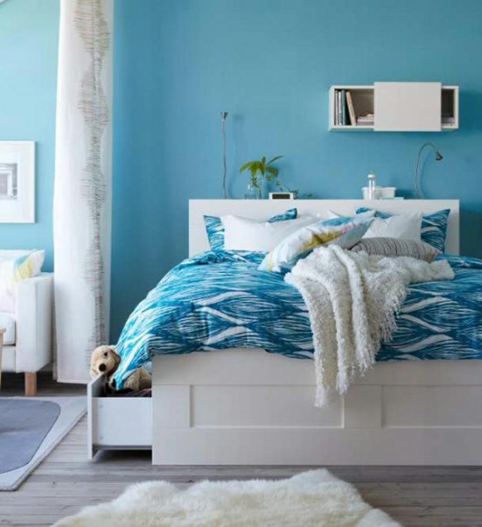Blaue Wandfarbe Schlafzimmer