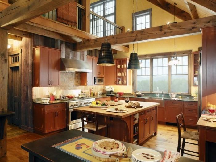 rustikale kueche in braun eine landhausstil kuche tragt zur warmen familienatmosphare in ihrem zuhause bei
