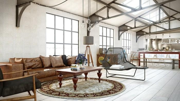 Wohnzimmerlampe im industriellen Stil  50 Ideen wie Sie Industrielampen in Szene setzen