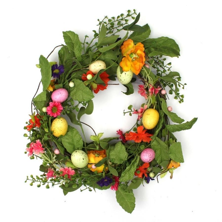 Osterkranz basteln aus Blumen um Frhling und Ostern zu