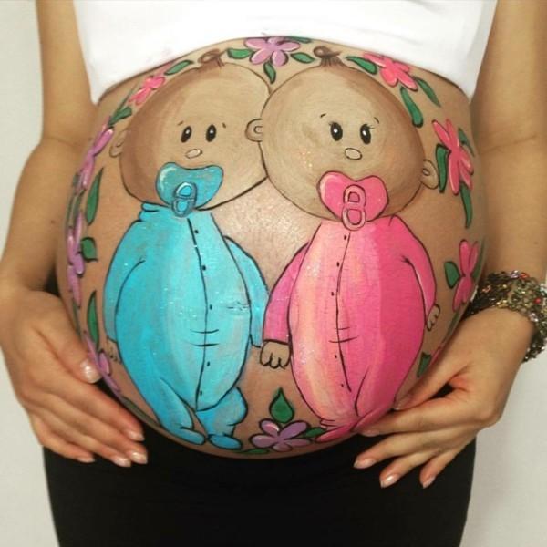 Babybauch bemalen ber 30 Fotoshooting Ideen und