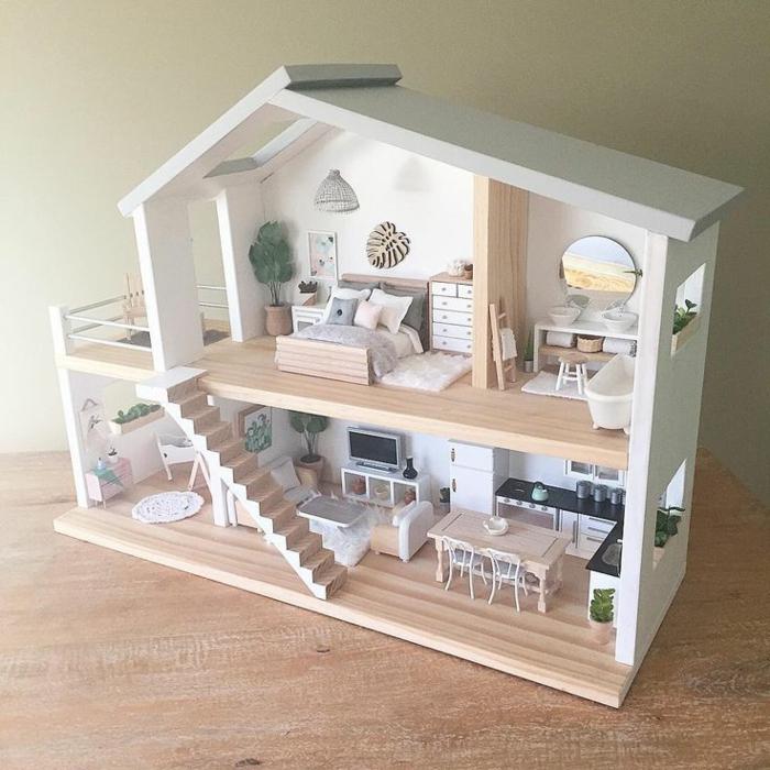 diy maison de poupee en bois meubles balcon