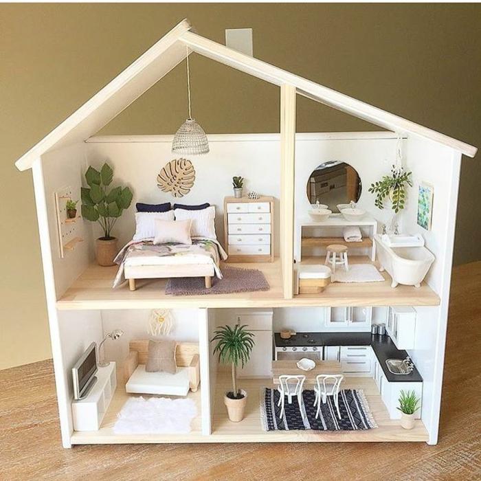 idee diy maison de poupee en bois quatre pieces