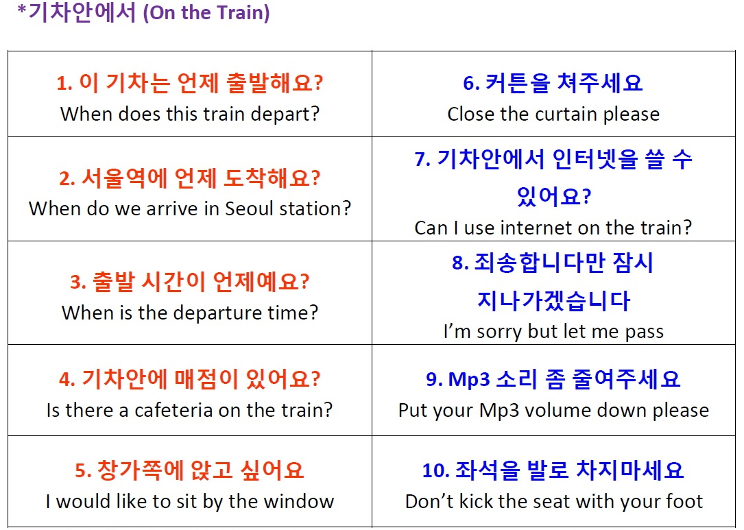 At The Train Station And On The Train Korean Vocabulary