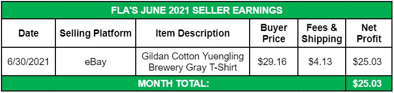 June Side Income 2021 Seller Earnings