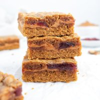 Healthy PB&J Stuffed Blondies (paleo & nut-free option)
