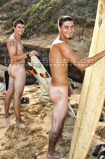 2 Hawaiian Studs Surfing Naked in Public