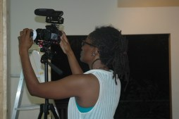 Malaika filming in the studio