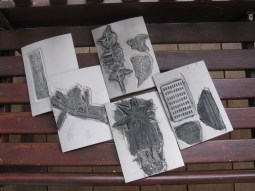 The lino blocks Versia has been working with