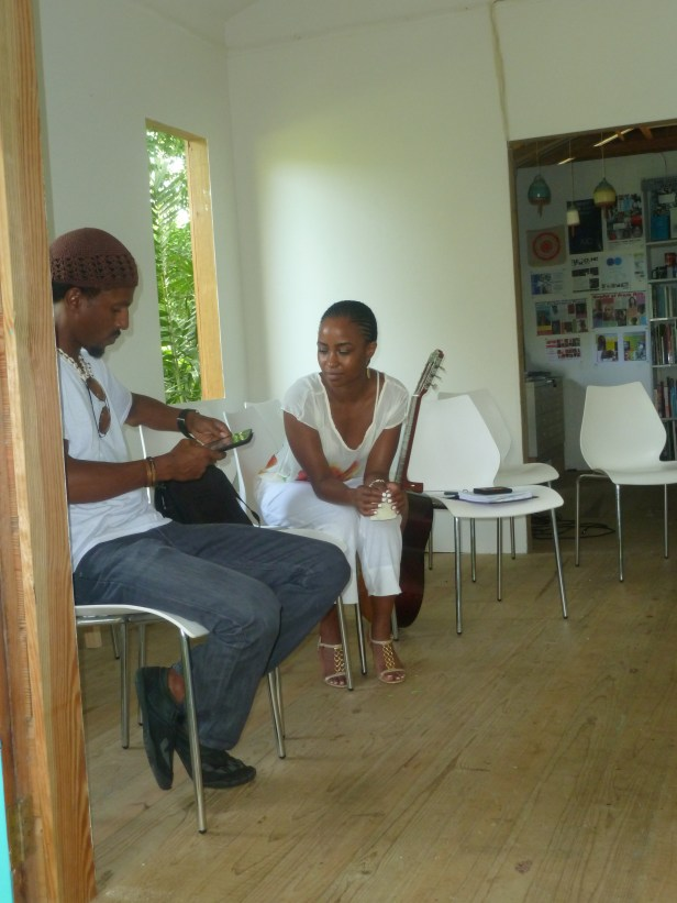 Barbadian spoken word artist Adrian Green and Shea Rose