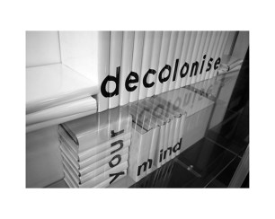 Torika Bolatagici, Decolonise Your Mind, Digital print on flex, Installation view, 2009.