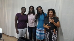 Sheena Weekes, Akhaji Zakiya, Anisah Wood and Torika Bolatagici (and baby Kamasi!), participants in the Quid Pro Quo Skills Exchange Programme
