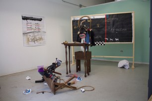 Nyugen Smith, Teacher Don't Teach Me Nonsense (Installation), Found wood, fabric, metal, Latex, wire, cork, handmade furniture, bone, rope, plastic, paper, rubber, 2015