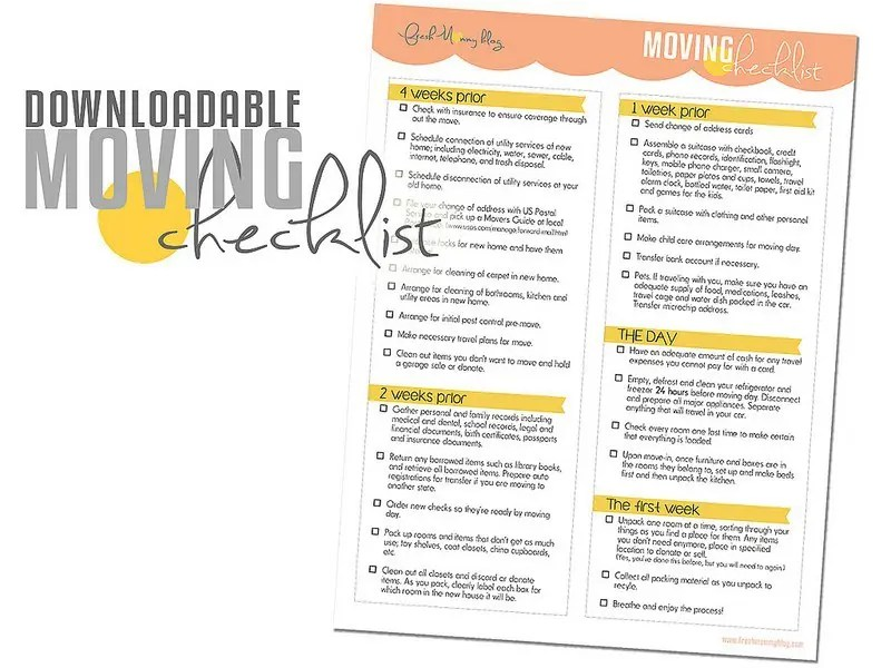 Moving Days Still  A Free Downloadable Moving Checklist  Fresh