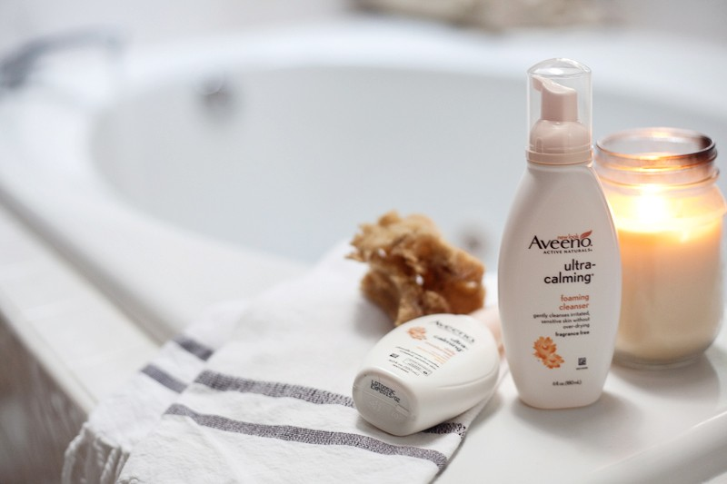 Create a spa night at home to relax and rejuvenate with AVEENO® ULTRA-CALMING® face wash and moisturizer!