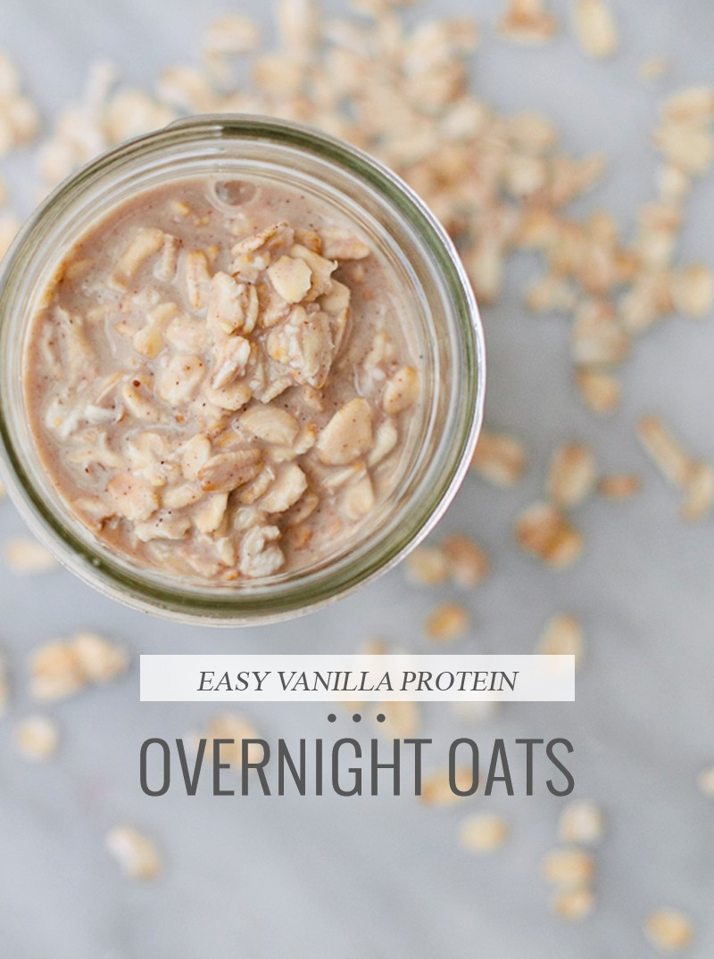 Simple and Easy Vanilla Protein Overnight Oats. Tastes deliciously like dessert and perfect to have ready for busy mornings so you can just grab and go! From freshmommyblog.com
