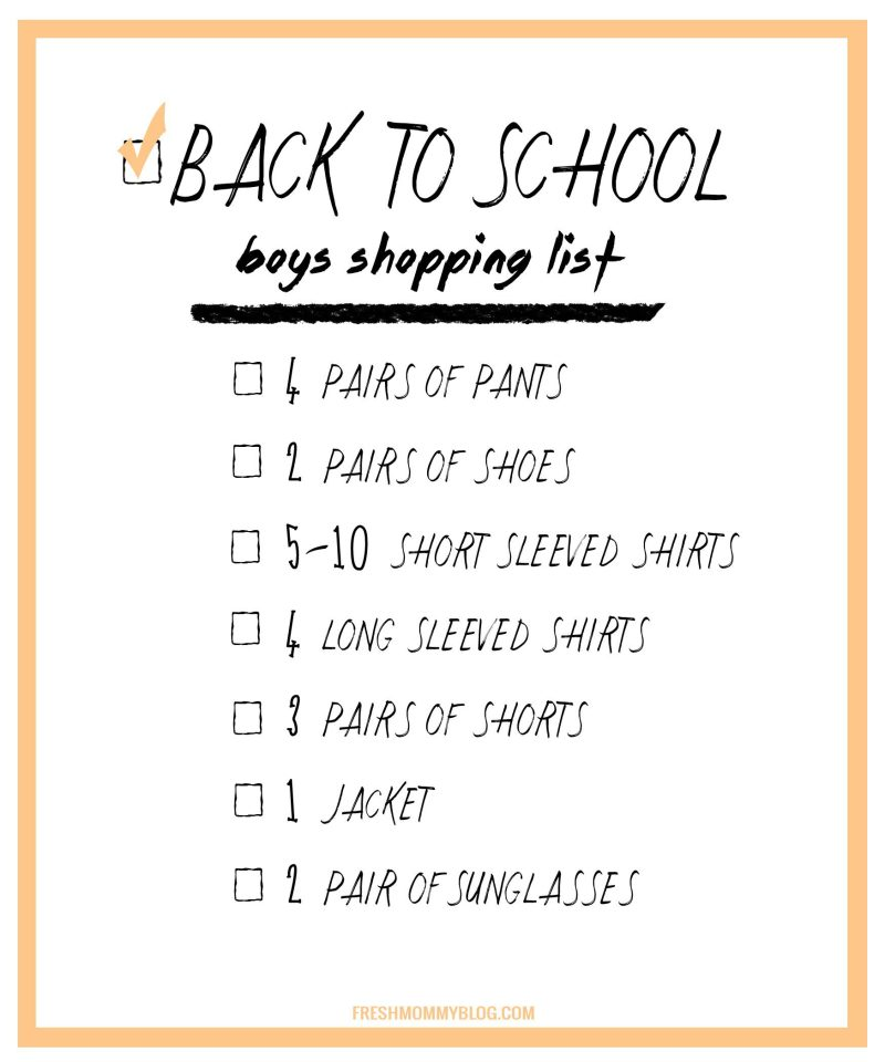 Back to School Shopping Checklist for a killer wardrobe for school. Download the list for boys.