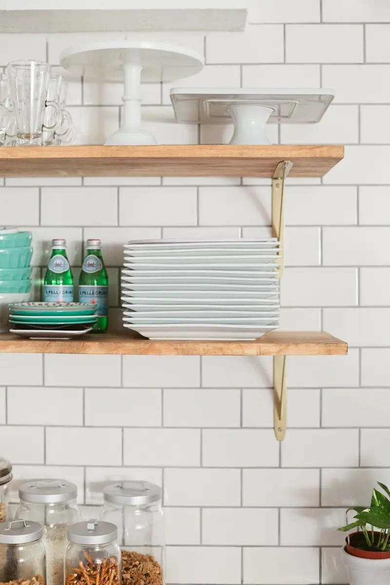 How To Hang Open Shelving on Tile-2