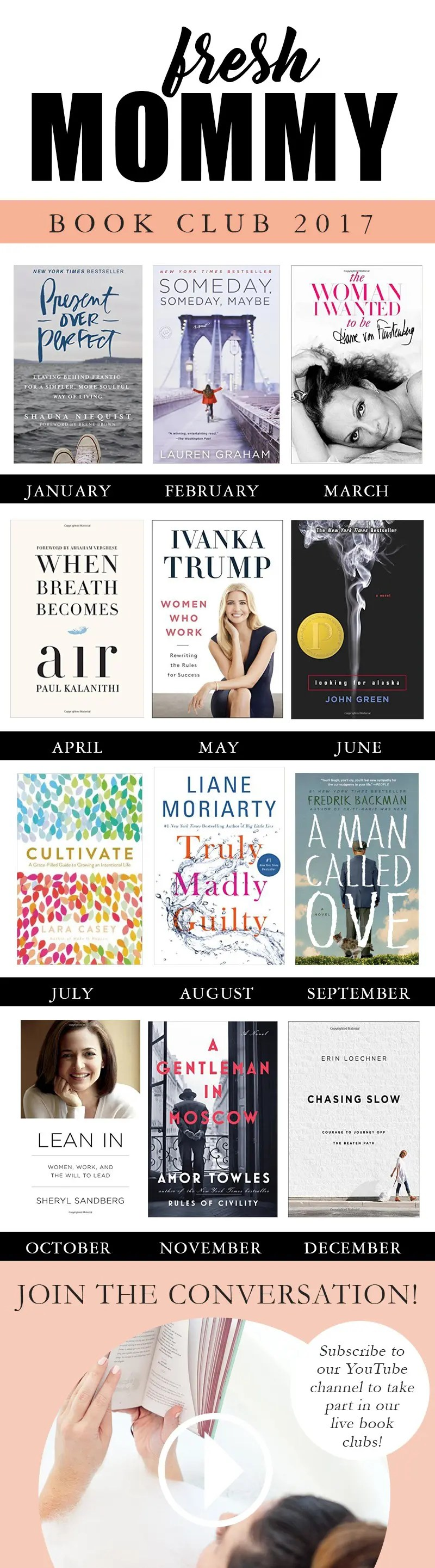 My 2017 Book Club Picks and Plan   #FreshMommyReads   Ever feel like your reading list is longer than you can finish? Well, put that aside for the moment and join us in our new #FreshMommyReads BOOK CLUB!! We've rounded up TOP picks from all different genres and will be having live reviews and conversations right here on this channel and live events at our studio every month as well!