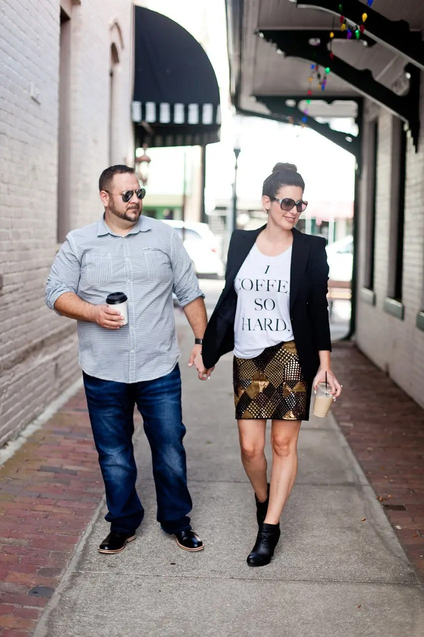 Statement tee styled with embellished skirt and jacket for a great date night style or fabulous brunch or event!