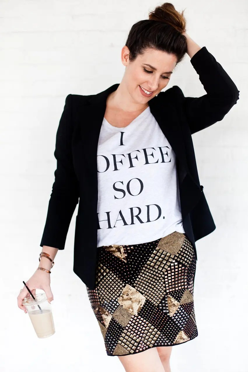 Statement tee styled with embellished skirt and jacket for a night out or fabulous brunch or event!