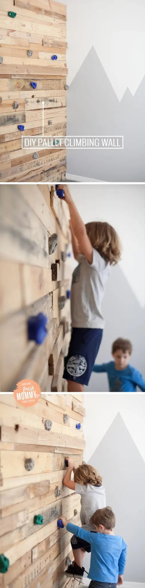 DIY Pallet Climbing Wall tutorial and video of this shared boy's room!
