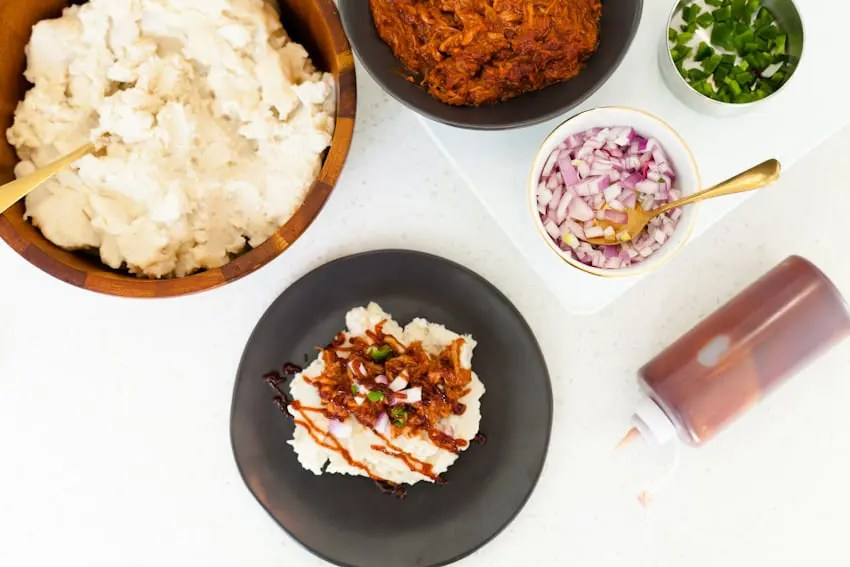 Laid Back Entertaining With a Mashed Potato and Mac and Cheese Bar. Pulled pork mashed potatoes and so much more.