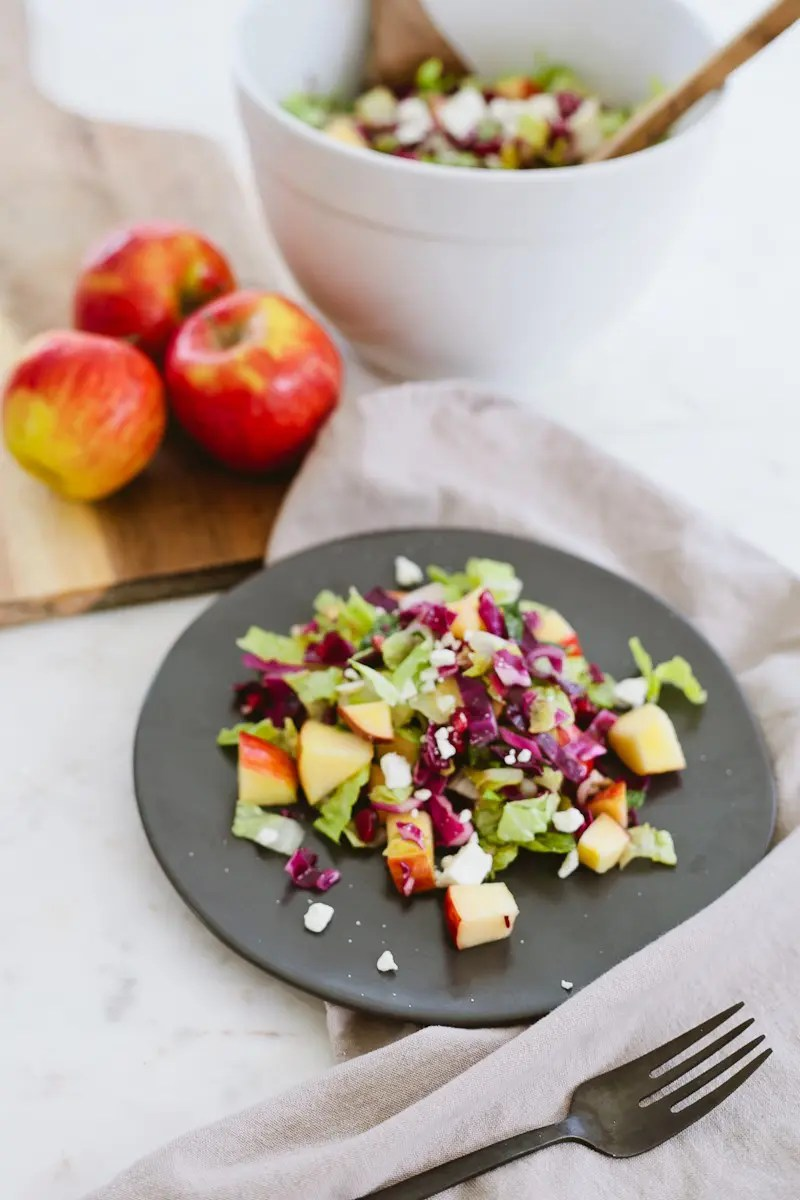 Healthy Apple and Pomegranate Winter Chopped Salad with Pazazz Apples from Tabitha Blue, popular Florida lifestyle blogger - Healthy Apple and Pomegranate Winter Salad Recipe by popular Florida lifestyle blogger Fresh Mommy Blog